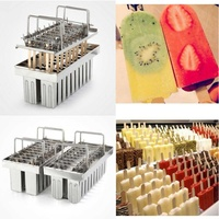 Frozen Stainless Steel Popsicle Molds Ice Cream Stick Holder 20 Molds Summer Home DIY Ice Cream Mould Ice Pop Mould Easy to clea