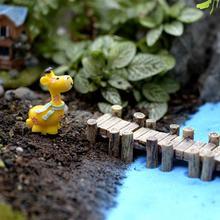 3pcs/Set Wooden Bridge Grey Yellow Miniatures Fairy Figurines Resin Bonsai Micro Landscape DIY Crafts Fairy Garden Decoration