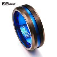 e7e3cea50503 Brown Blue Color Men Women Rings 8mm Width Tungsten Carbide Couple Anillos  Wedding Bands. Ver Oferta. Mujeres anillo de los hombres moda negro y rosa  oro ...