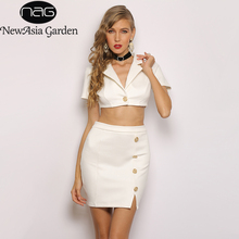 NewAsia Garden Spring Women Set Golden Button Suede Two Piece Crop Top And Skirt Ladies Party 2 Outfits White 2019