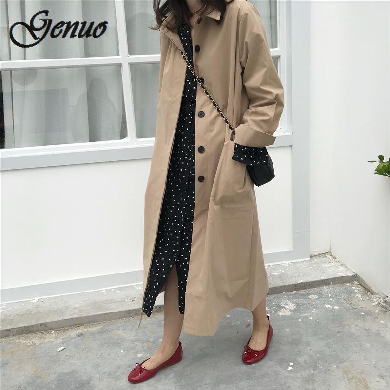 Women Autumn Long Sleeve Double Breasted Long   Trench   Coat Female Pocket Straight Shirt Windbreaker Femme Hiver Overcoat