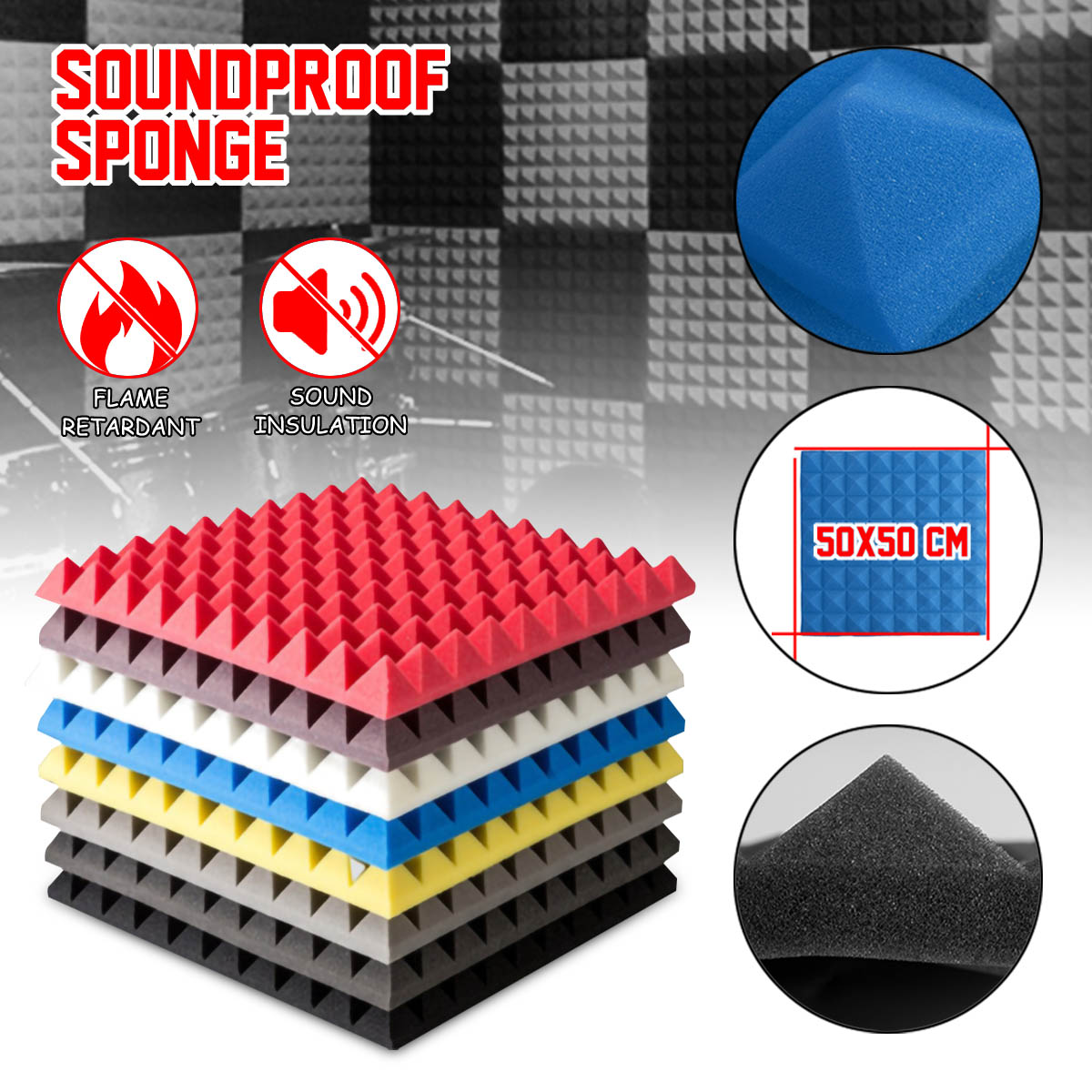 6PCS Soundproofing Foam Acoustic Foam Sound Treatment Absorption Wedge Tiles Polyurethane Foam 500x500mm Noise Sponge