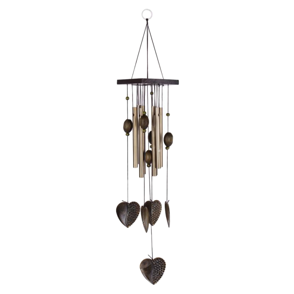 Heart Decor Windchimes Wind Chime Metal 8 Tubes Hanging Ornament Garden Home Wind Chimes & Hanging Decorations
