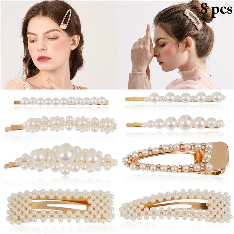 Brillant 8 Pcs Hand-gestrickte Perlen Perle Haarnadel Clip Frauen Haar Clip Mode Künstliche Perle Alligator Clip Haarspange Haar Zubehör