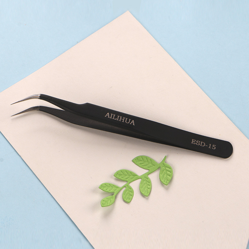 DUOFEN Die Cutting Tools 12cm Curved Fine Point Tweezers