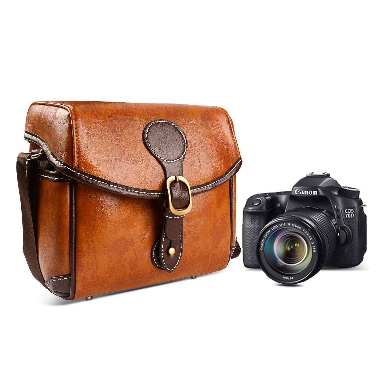 Vintage Camera Bag DSLR Shoulder Camera Bag with Removable Inserts Waterproof Shockproof Camera Case for Canon Nikon Sonnyn