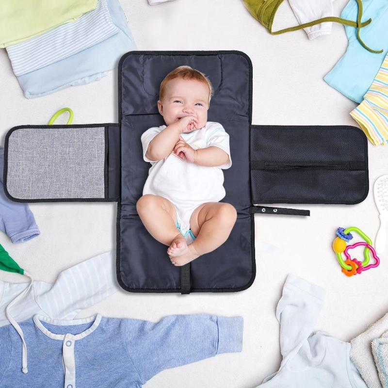 Baby Diaper Change Mat With Pockets Portable Folding Waterproof Changing Station Diaper Changing Pad Baby Travel Nappy Mats