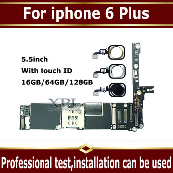 Factory unlocked motherboard for iphone 6 plus 16GB 64GB 128GB IOS logic board with Touch ID,without Touch ID for iphone 6Plus
