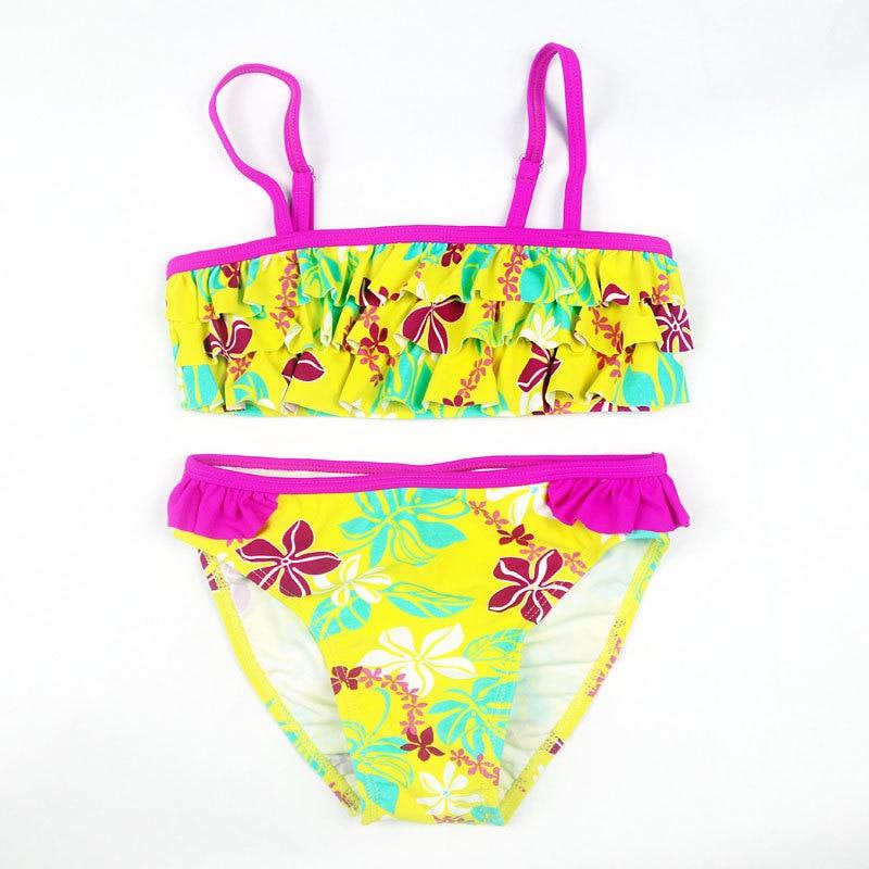 New Summer Multilayer Swimwear Flowers Bikini Children's Swimwear Girl Split Bikini Kids Cake Layer Swimsuit Summer Bathing Suit