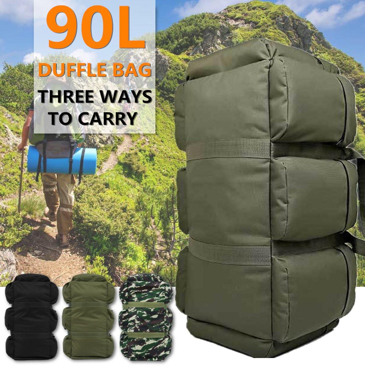 90L grand sac à bagages en toile imperméable à l'eau sac à main en plein air sac à bandoulière sac à dos voyage Camping escalade fournitures 3 couleurs