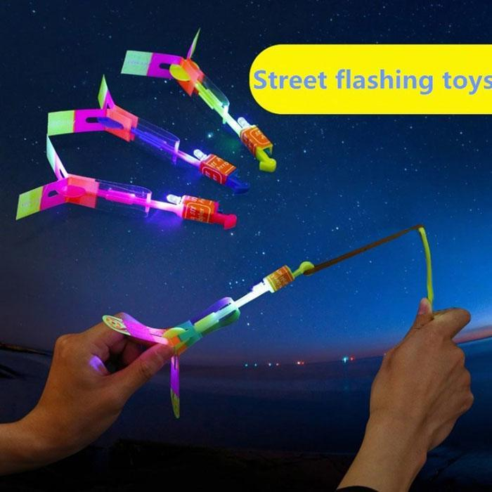 Kids Toys LED Light Arrow Rocket Helicopter Different Colorful Flying Toy Casual Party Fun Gift Elastic(China)