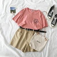 Lovely Summer 2 Piece Set Women Pig Pattern T shirt + High Waist Khaki Shorts Set Suit Women Pink Casual Matching Sets