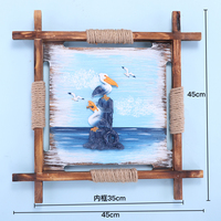 45cm Mediterranean Style Decoration Painting Woodiness Ocean Paintings Room Decoration Mural Crab 3D Painting Ornaments