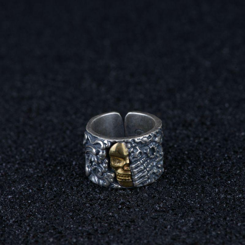 2019 Alexandrite vrais hommes Anel Feminino S990 Thai Resto anciennes façons anneau processus hommes cuivre combinant Texture squelette
