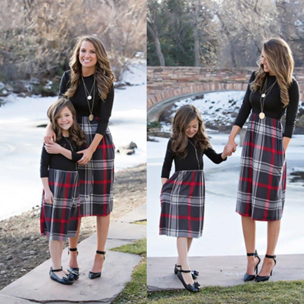 Matching Dress Shirt Patchwork Parent-Child Black Three-Quarter-Sleeve Plaid High-Waist