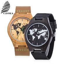 CZOKA Map Design Relojes Hombre Watch Men Fashion Sport Quartz Clock Mens Watches Leather Sport+Natural Wood Reloj