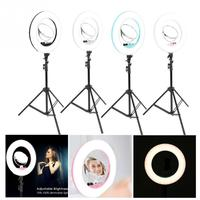 Makeup LED Flesh Selfie Ring Photography Lighting Video Live Diffuser Light with Tripod Makeup Light