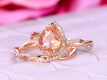 HUITAN Luxury Engagement Ring With Champagne Cubic Zircon Water Drop Shaped For Women Wedding Jewelry Wholesale
