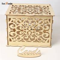 DIY Vintage Wedding Table Decor Well Money Box Envelope Wood Wedding Card Box Holder Keepsake Boxes Gift Wooden Party Decoration
