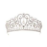 Korean Style Cutout Crystal Headband Crown Bride Wedding Jewelry Headdress Hair Comb Cake Birthday Big Crown