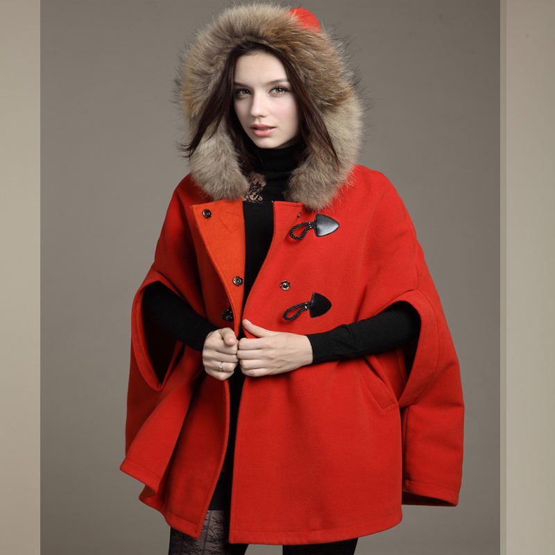 2019 New Womens Winter Jackets And Coats Plus Size Female Casual Loose Cape Bat Sleeve Wool Fur Collar Poncho Jacket Cloak Coat in Wool amp Blends from Women 39 s Clothing