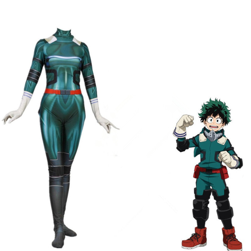 Anime Boku No Hero Academia Deku Izuku Midoriya Costume My Hero Academia Cosplay Bodysuit Zentai Suit Halloween Jumpsuit