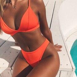 2019 летний Одноцветный пляжный купальник для женщин, сексуальный купальник с лямкой через шею, стринги, женские комплекты бикини, оранжевый, ...