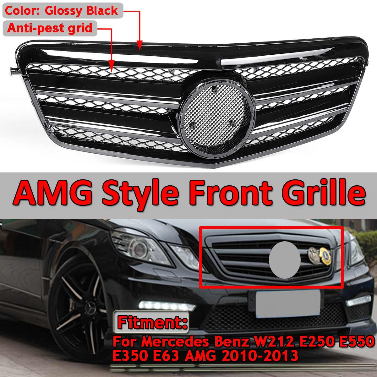 W212 GTR Style Car Front Bumper Grill Grille For Mercedes For Benz E250 E550 E350 E63 For AMG 2010-2013 Racing Grills no emblem image