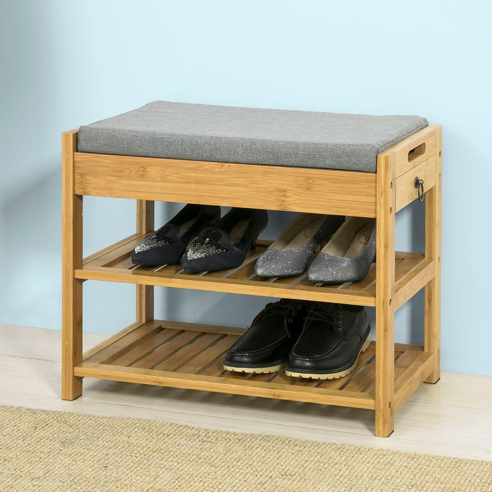 SoBuy Bamboo Hallway Shoe Rack Bench with Lift Up Bench Top and Seat Cushion Storage Organizer with Drawer FSR49-NSoBuy Bamboo Hallway Shoe Rack Bench with Lift Up Bench Top and Seat Cushion Storage Organizer with Drawer FSR49-N