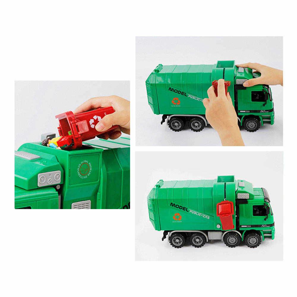 Children Garbage Truck Sanitation Trucks Toy Engineering Cleaning Car Model Simulation Inertia Toys for Children Kids Gift