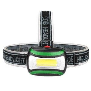 Image 2 - COB/6LED Mini far 3 modu su geçirmez far 3xAAA pil başkanı el feneri Torch fener açık kamp gece balıkçılık