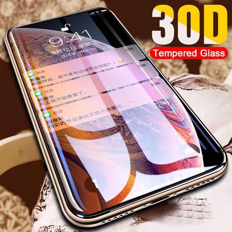 30D מגן זכוכית על עבור iPhone X XS Max XR מזג מסך מגן סרט מעוקל קצה זכוכית XR XS מקסימום מלא כיסוי זכוכית