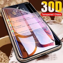 30D Protective Glass on the For iPhone X XS Max XR Tempered Screen Protector Curved Edge Glass 11 Pro XR XS Max Full Cover Glass