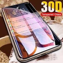 30D מגן זכוכית על עבור iPhone X XS Max XR מזג מסך מגן מעוקל קצה זכוכית 11 פרו XR XS מקסימום מלא כיסוי זכוכית