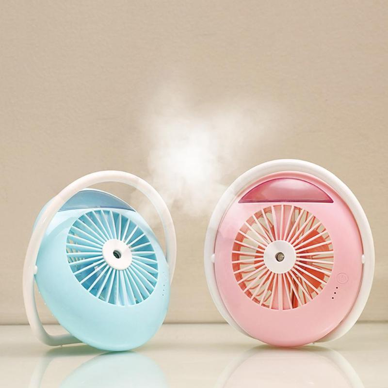 USB Fan Cooler Mini Rechargeable Desktop Cooling Fan Mist Spray Humidifier Potable Air Cooling Conditioner Machine Home Office
