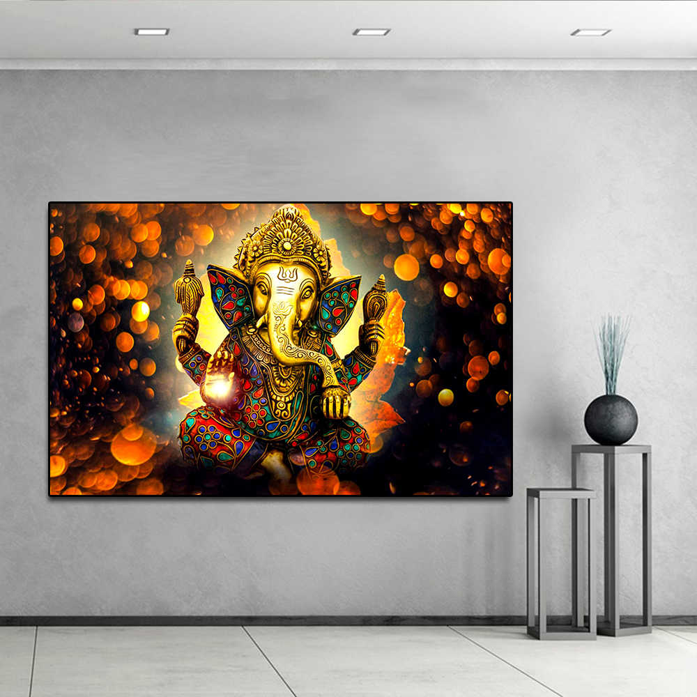 Buddha poster vinayaka ganapati lord ganesha statue wall art canvas picture for living room home decor golden butterfly no frame