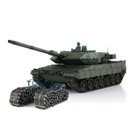 Henglong 1/16 зеленый 6,0 версия инфракрасный боевой Leopard2A6 RC Танк 3889 отдача ствола металлический трек Резина TH12771