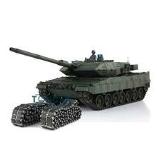 Henglong 1/16グリーンtk 6.0sバージョン赤外線戦闘Leopard2A6 rcタンク3889バレルリコイルユニット金属トラックゴムTH12771