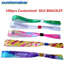 Custom ribbon satin wristband Feature holiday full color Printed Ribbon SILK BRACELET FOR EVENT party concert entrance ID original evolis r3013 ymcko color ribbon for pebble dualys securion id card printer