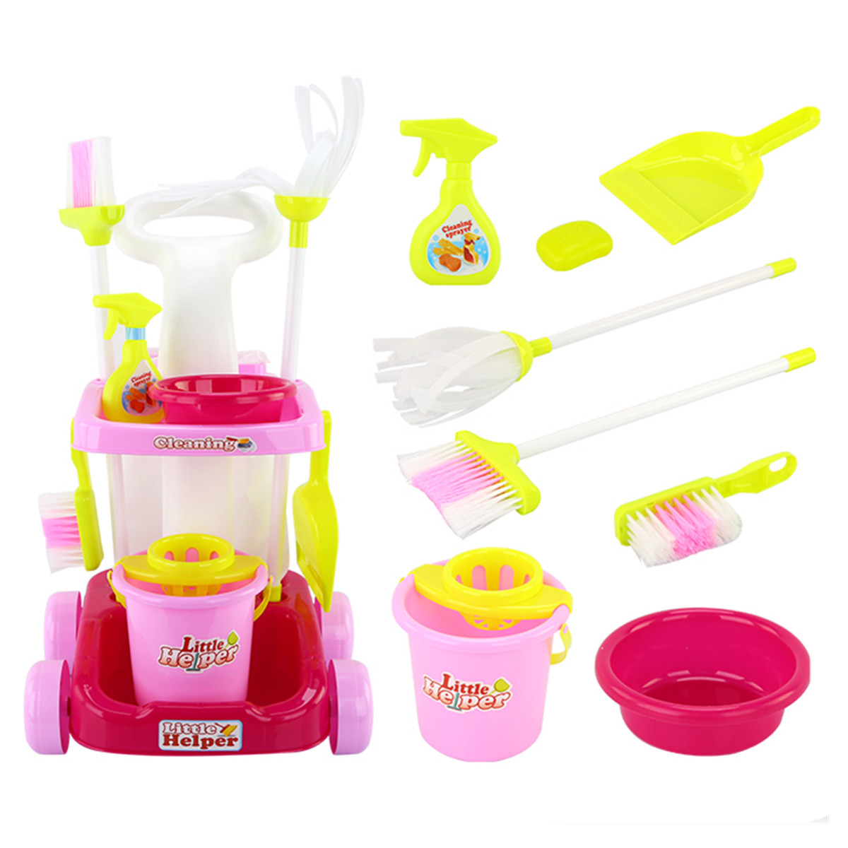 Kids Toddler Cleaner Cleaning Trolley Set Broom Duster Plastic Role Play Educational Toy Suitable for children above 3 years