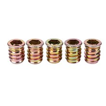 Set of 5 threaded insert M10 x 20 mm for wood