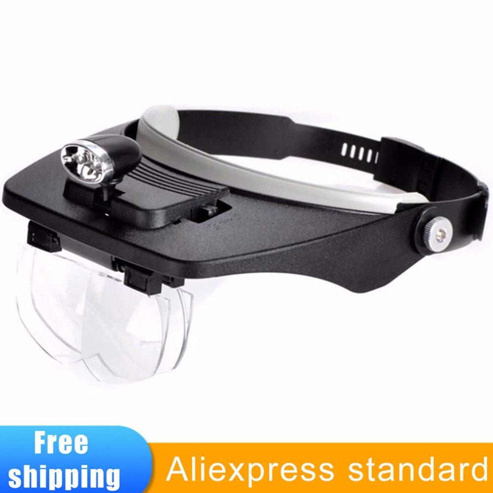 Headband Magnifier Lamp With Led Illuminated Loupe Repair Reading Jewelry Helmet Magnifying Glasses 1.2x 1.8x 2.5x 3.5x