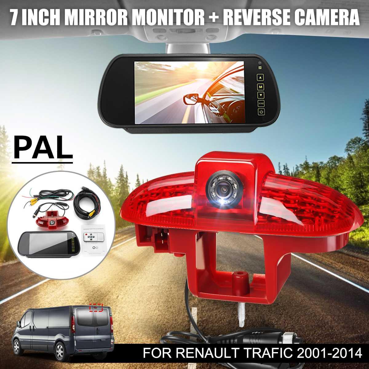 PAL frein de voiture led répéteur hdmi N ° Vue Arrière De Sauvegarde caméra de parking LCD Large Écran Miroir Moniter Pour Renault Trafic 01-14