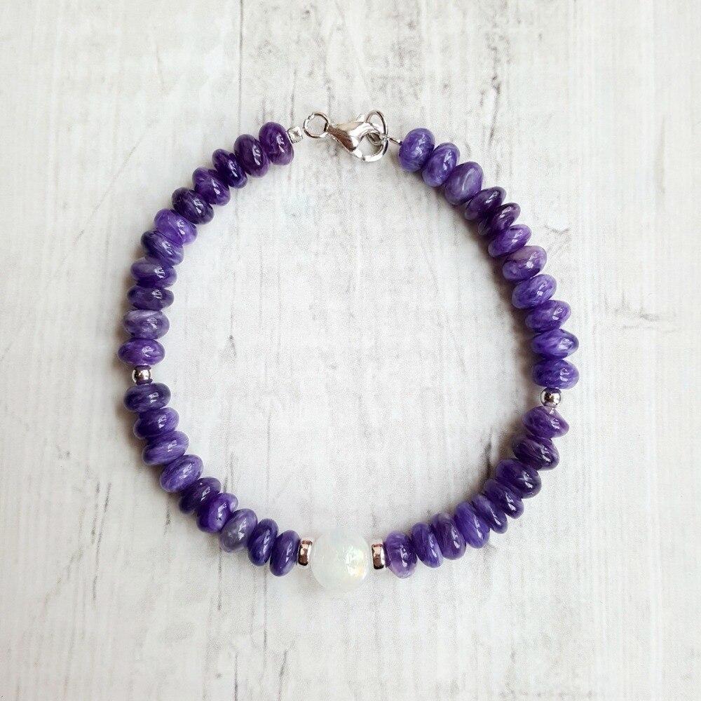 6411d8bb0b93 Cheap LiiJi única Natural de alta calidad púrpura Charoite piedra lunar 925  Plata de Ley broche