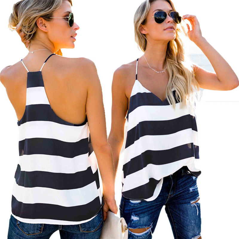 Vest Tops T-Shirt Tank-Top V-Neck Loose Striped Casual Women Summer Sleeveless New S-XL