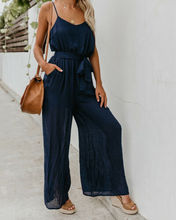 Summer Jumpsuits 2019 New Women Casual Solid Loose Sleeveless V-Neck High Waist Strap Jumpsuit