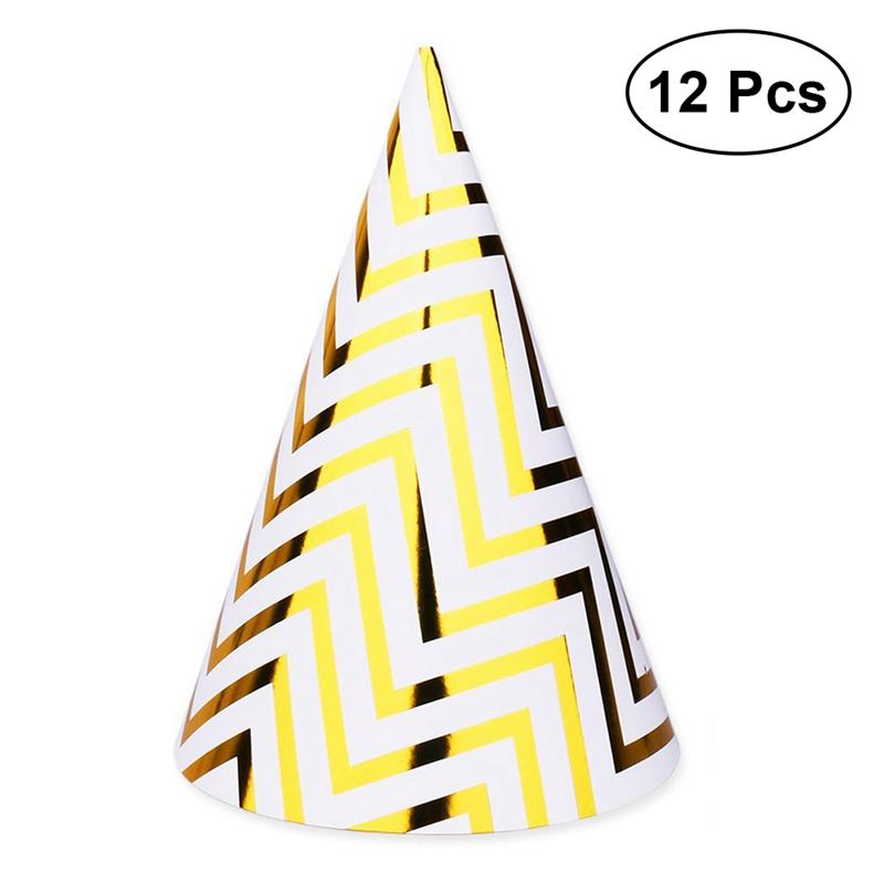 12Pcs Hot Stamping Birthday Hats Paper Cap Happy Birthday Letter Star DIY Decoration Cartoon Hats Children Party Gift Supplies