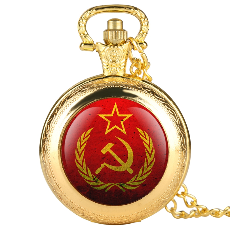 Party Emblem USSR Soviet Badges Hammer Sickle Quartz Pocket Watch Russian Army CCCP Communism Souvenir Gift Necklace Clock Chain