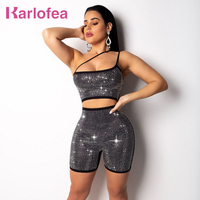 Karlofea Women Sexy Diamond Romper New Shiny Rhinestone Hollow Out Short Jumpsuit Club Party Wear Black Gold Playsuit Rompers