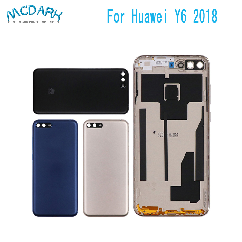 5.7''Battery Back Cover For Huawei Y6 /Y6 Prime 2018 Mobile Phone Housing Replacement Parts Rear Door Case+Button Lens